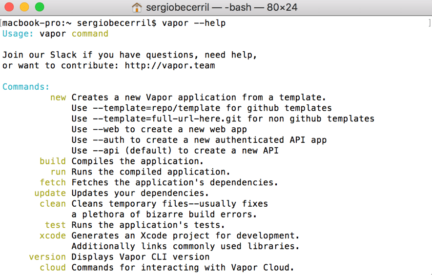Vapor el Framework para usar Swift en un servidor2