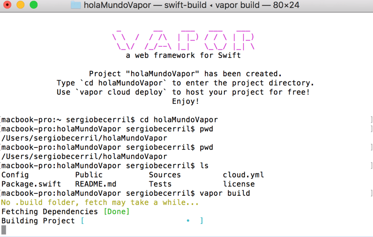 Vapor el Framework para usar Swift en un servidor7