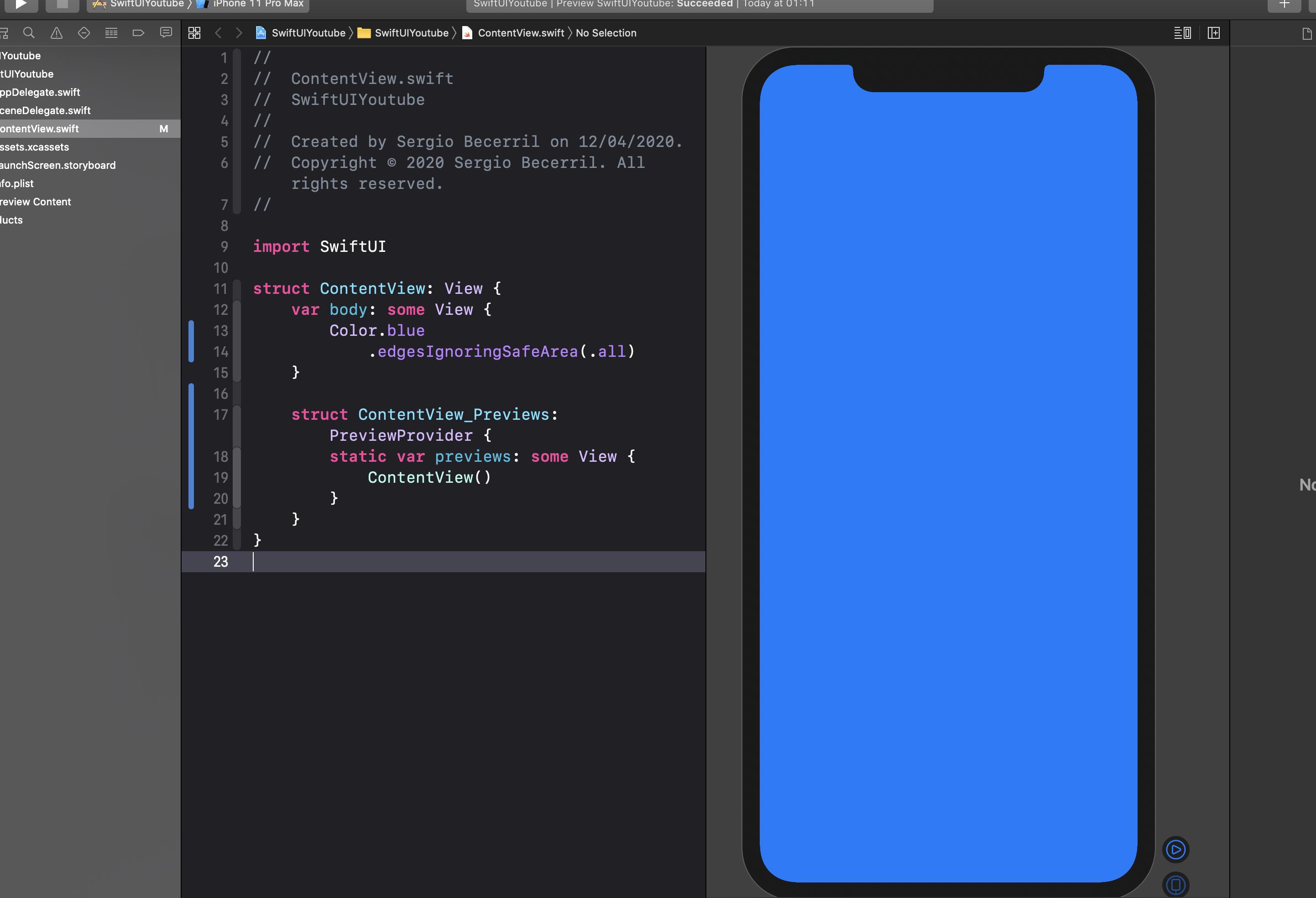 Cómo cambiar el color de fondo de una vista en SwiftUI2